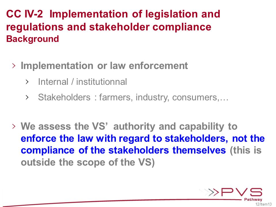 CC IV-2 Implementation of legislation and regulations and stakeholder compliance Background