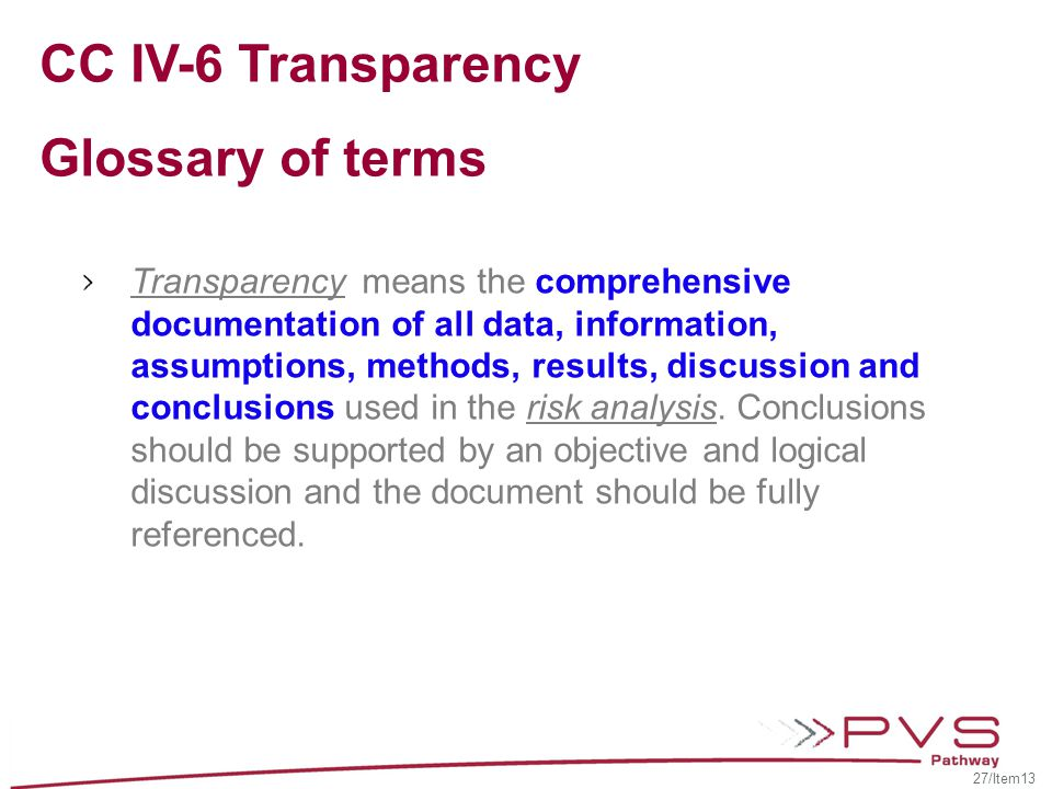 CC IV-6 Transparency Glossary of terms