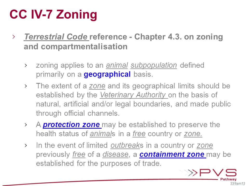 CC IV-7 Zoning Terrestrial Code reference - Chapter 4.3. on zoning and compartmentalisation.