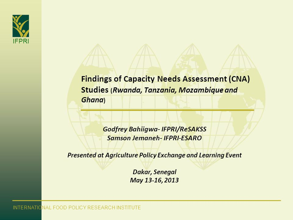 Findings of Capacity Needs Assessment (CNA) Studies (Rwanda, Tanzania, Mozambique and Ghana)