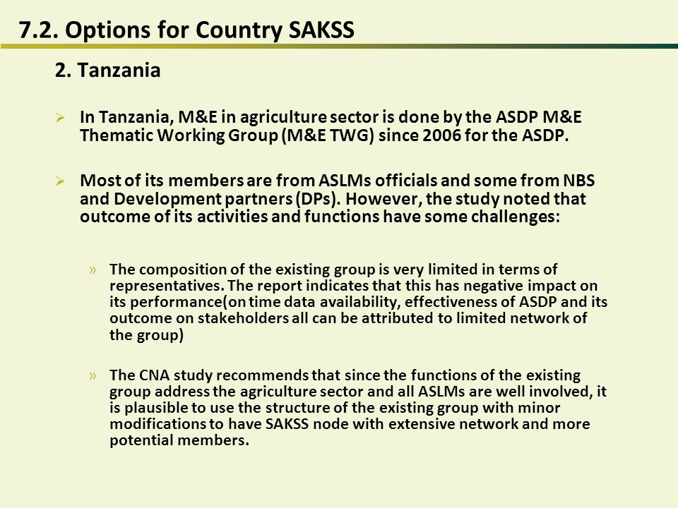 7.2. Options for Country SAKSS