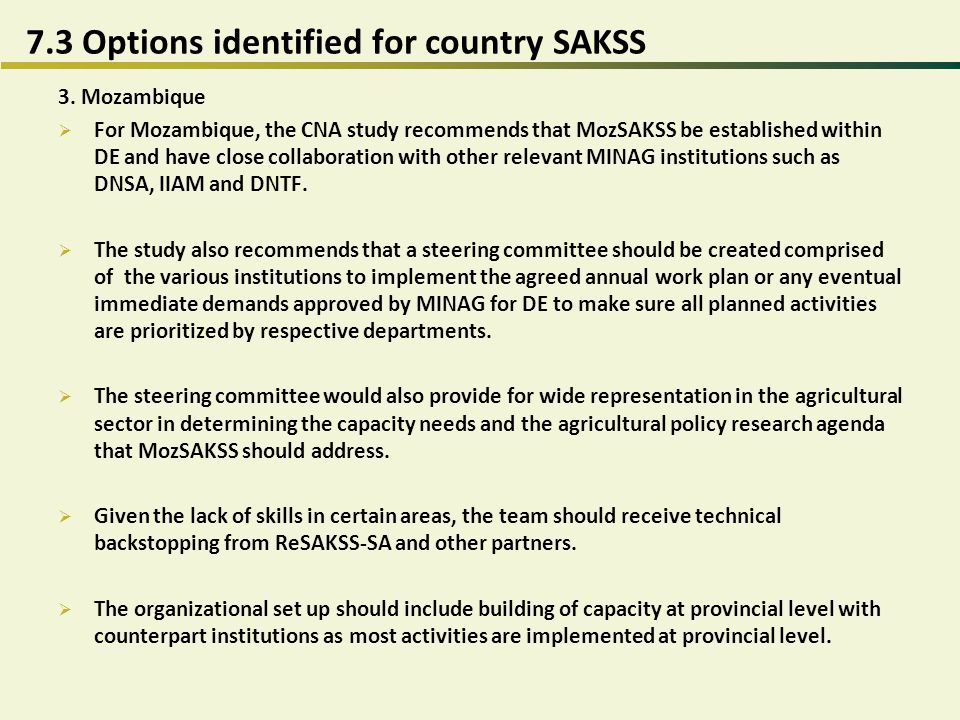 7.3 Options identified for country SAKSS