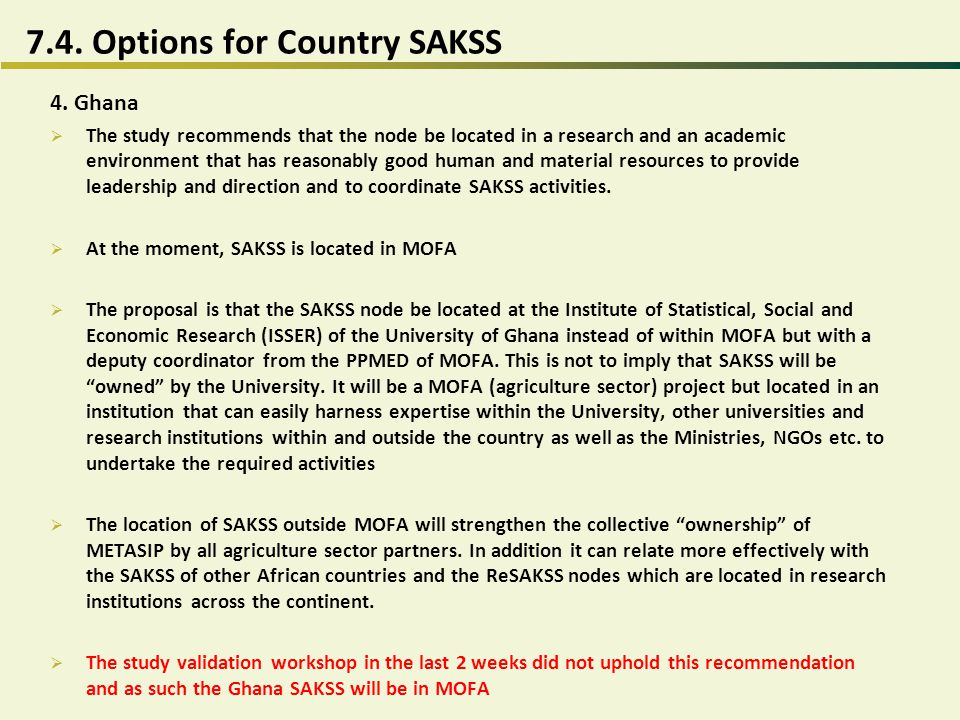 7.4. Options for Country SAKSS