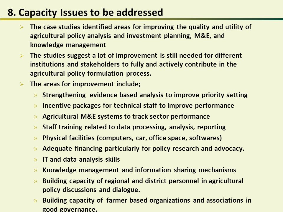 8. Capacity Issues to be addressed