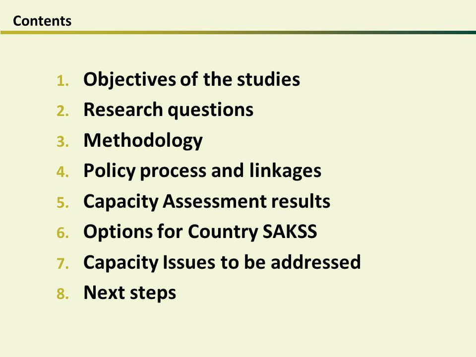 Objectives of the studies Research questions Methodology
