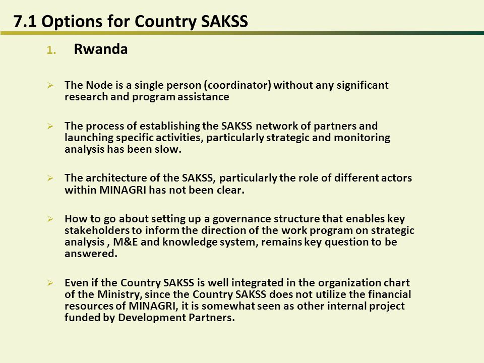 7.1 Options for Country SAKSS