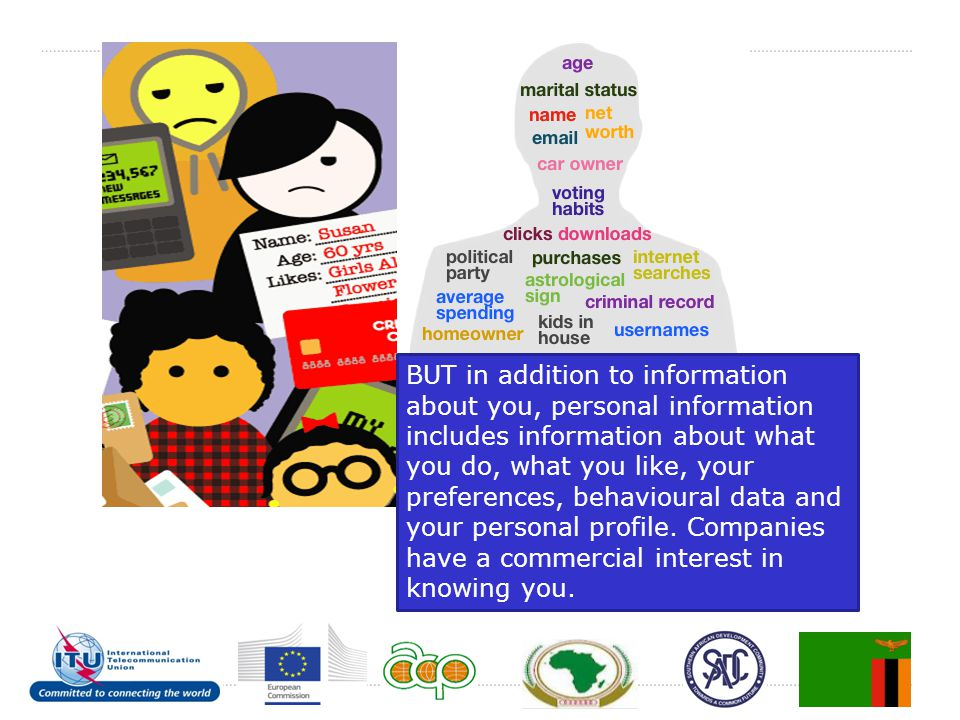 BUT in addition to information about you, personal information includes information about what you do, what you like, your preferences, behavioural data and your personal profile.