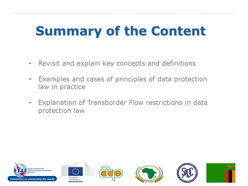 Summary of the Content Revisit and explain key concepts and definitions. Examples and cases of principles of data protection law in practice.