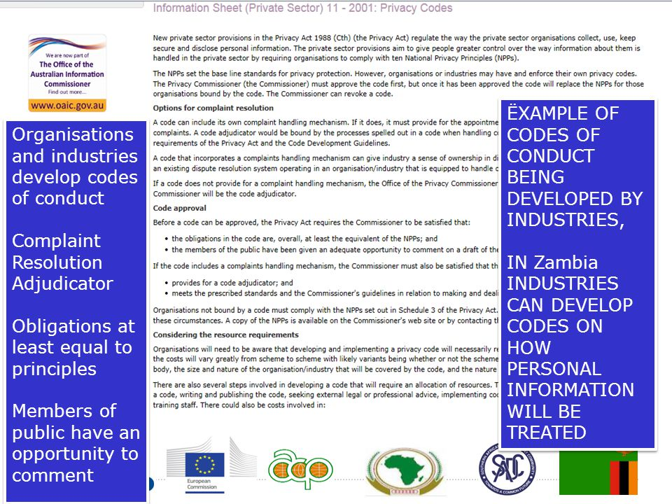 ËXAMPLE OF CODES OF CONDUCT BEING DEVELOPED BY INDUSTRIES,