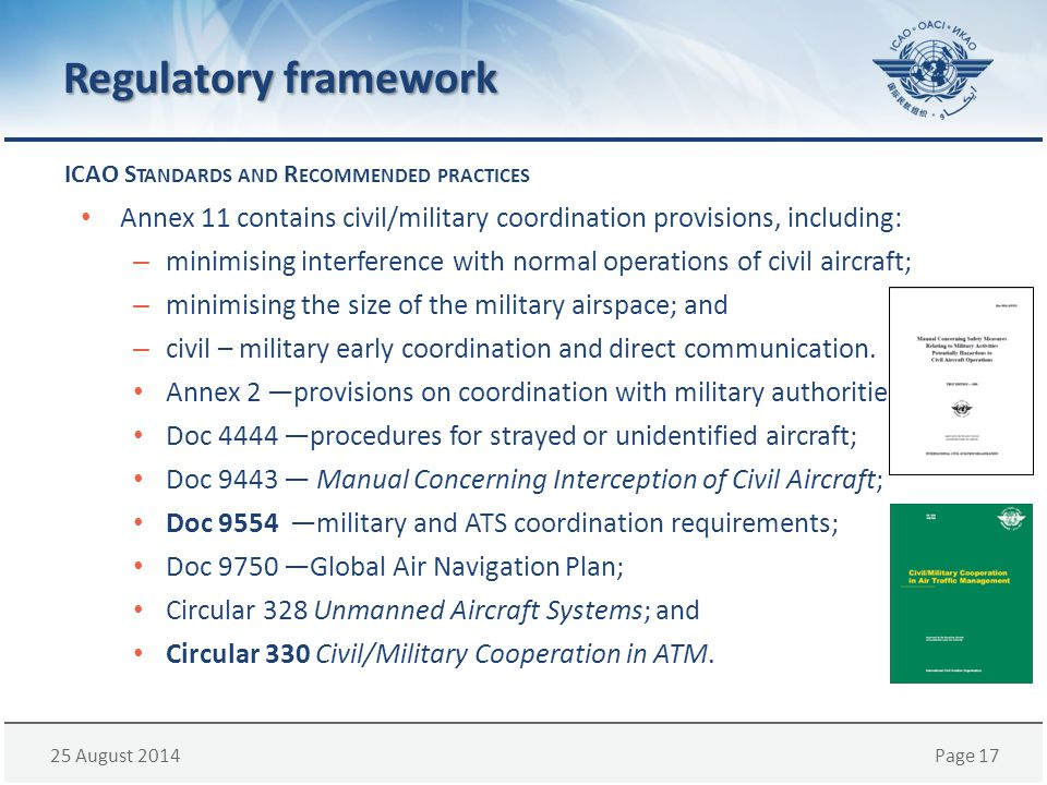Regulatory framework ICAO Standards and Recommended practices. Annex 11 contains civil/military coordination provisions, including: