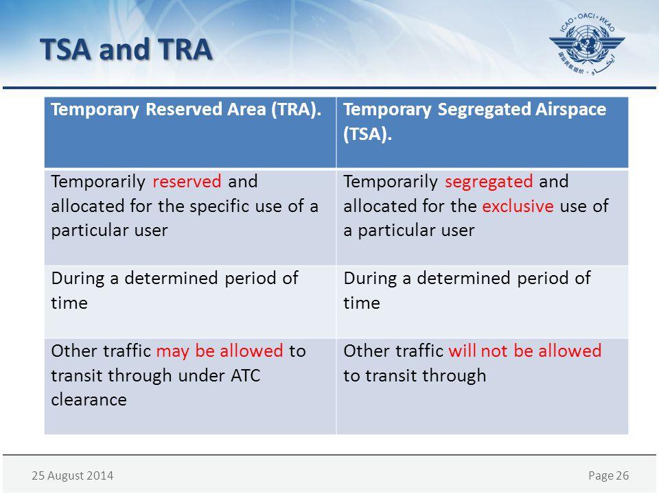 TSA and TRA Temporary Reserved Area (TRA).