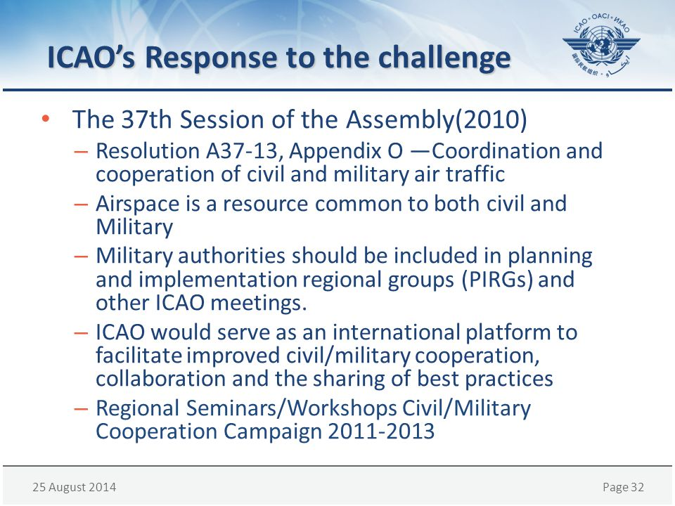 ICAO's Response to the challenge