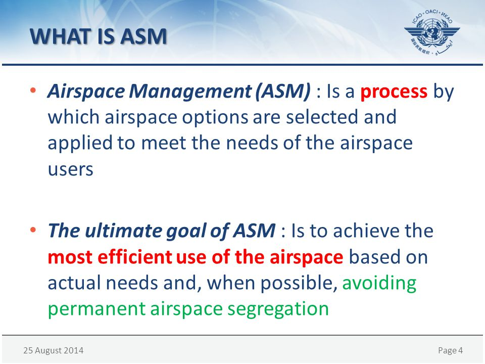 WHAT IS ASM Airspace Management (ASM) : Is a process by which airspace options are selected and applied to meet the needs of the airspace users.