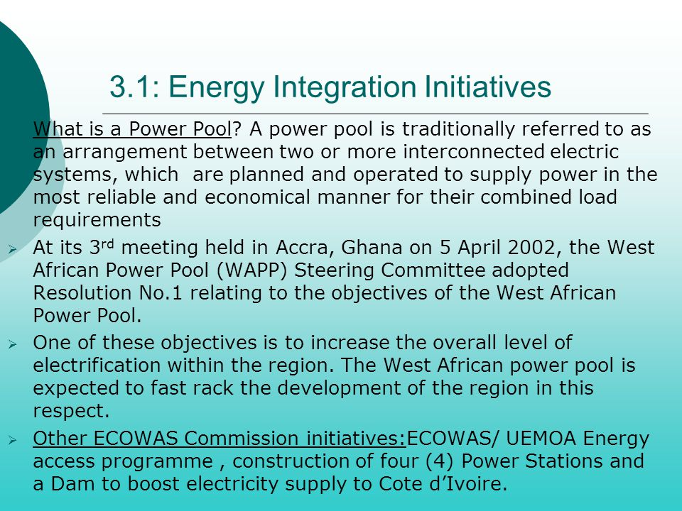 3.1: Energy Integration Initiatives