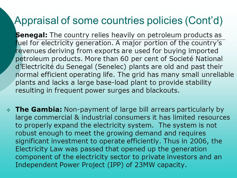 Appraisal of some countries policies (Cont'd)
