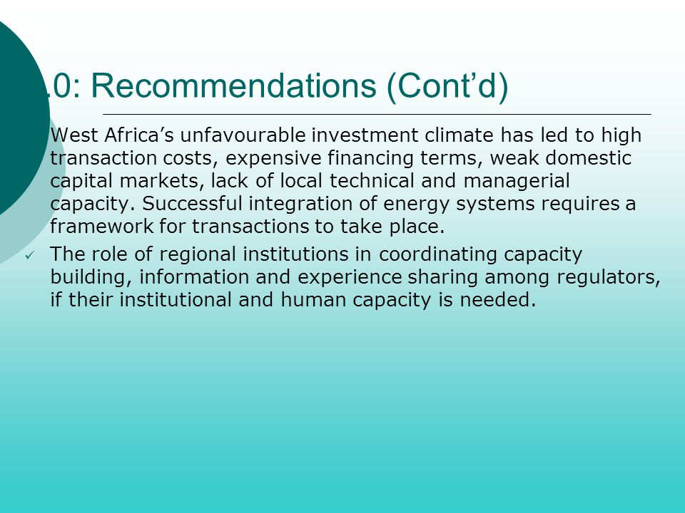 5.0: Recommendations (Cont'd)