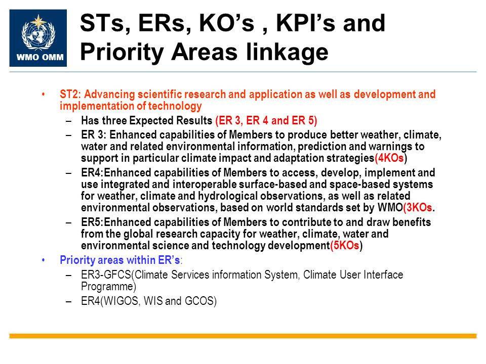 STs, ERs, KO's , KPI's and Priority Areas linkage