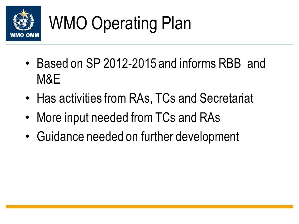 WMO Operating Plan Based on SP and informs RBB and M&E