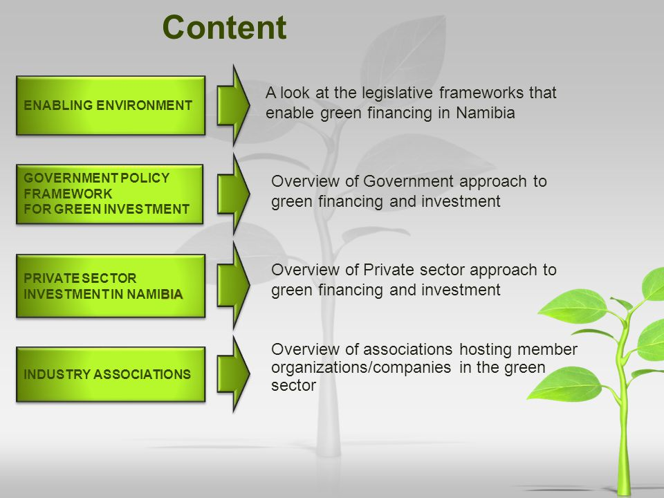 Content Enabling environment. A look at the legislative frameworks that enable green financing in Namibia.