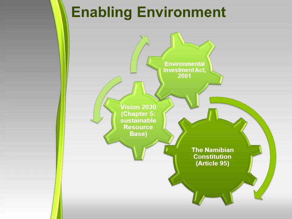 Enabling Environment The Namibian Constitution (Article 95) Vision 2030 (Chapter 5: sustainable Resource Base)