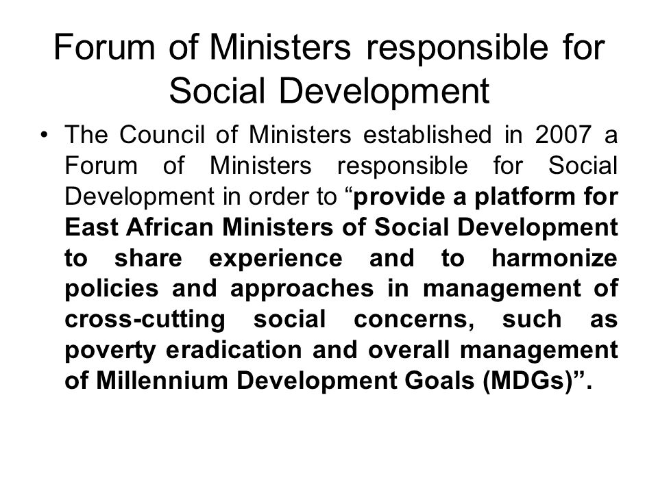 Forum of Ministers responsible for Social Development