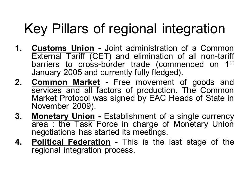 Key Pillars of regional integration