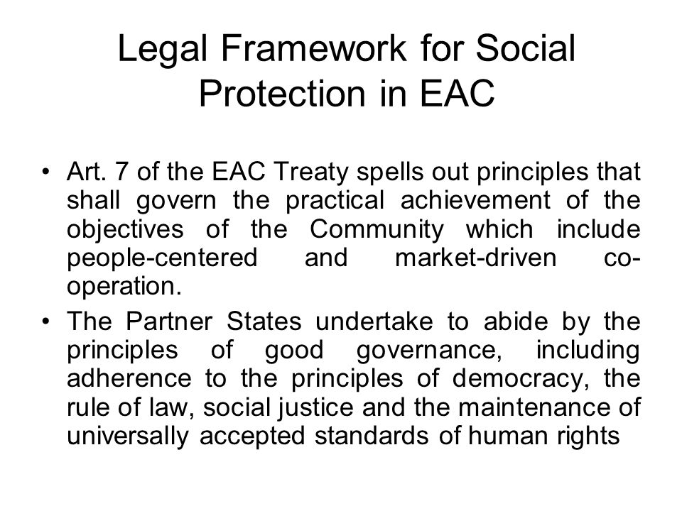 Legal Framework for Social Protection in EAC