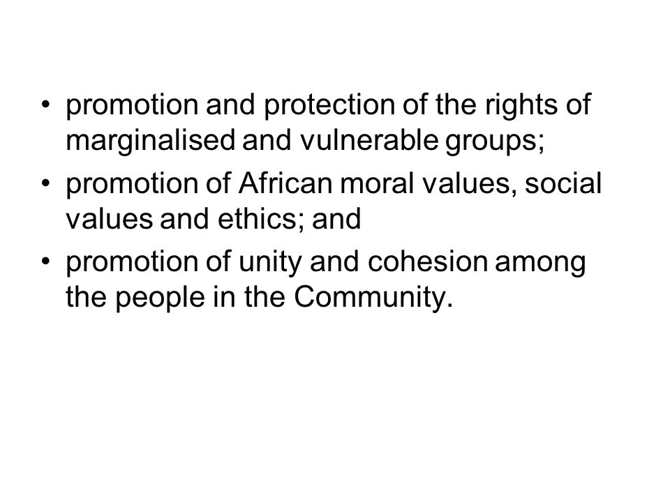 promotion and protection of the rights of marginalised and vulnerable groups;