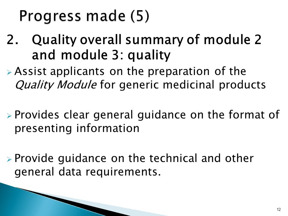 Progress made (5) 2. Quality overall summary of module 2 and module 3: quality.