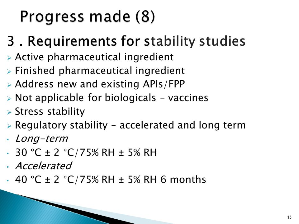 Progress made (8) 3 . Requirements for stability studies