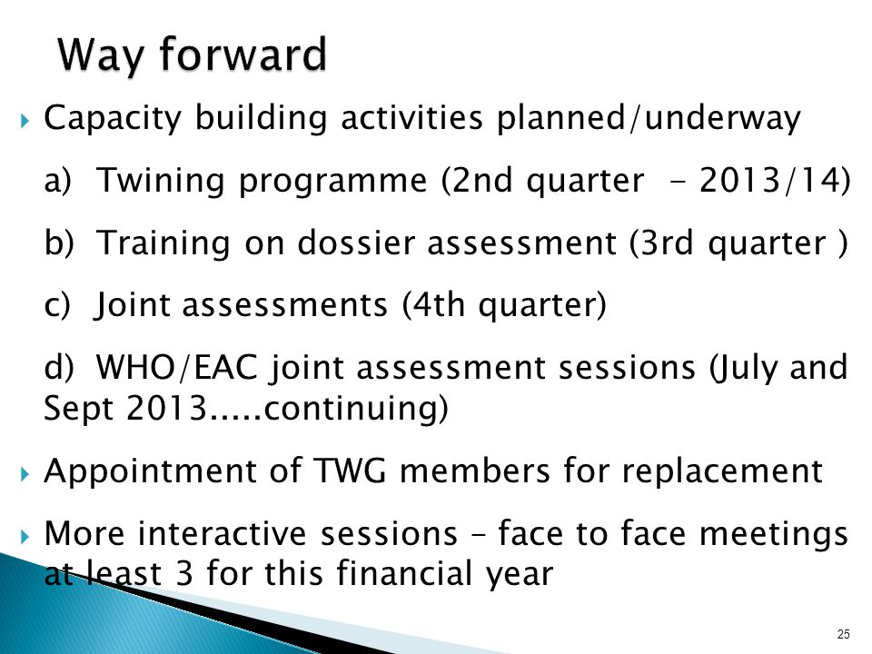 Way forward Capacity building activities planned/underway