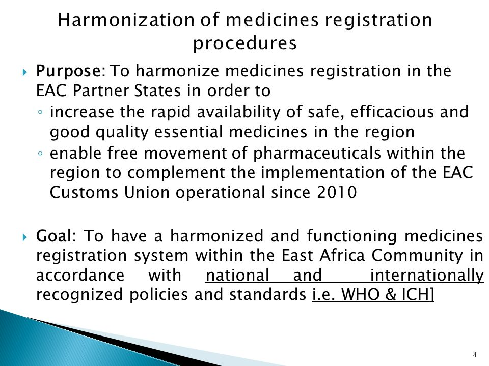 Harmonization of medicines registration procedures