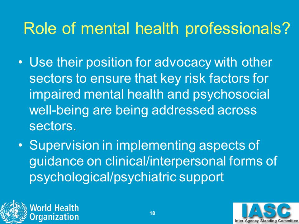 Role of mental health professionals