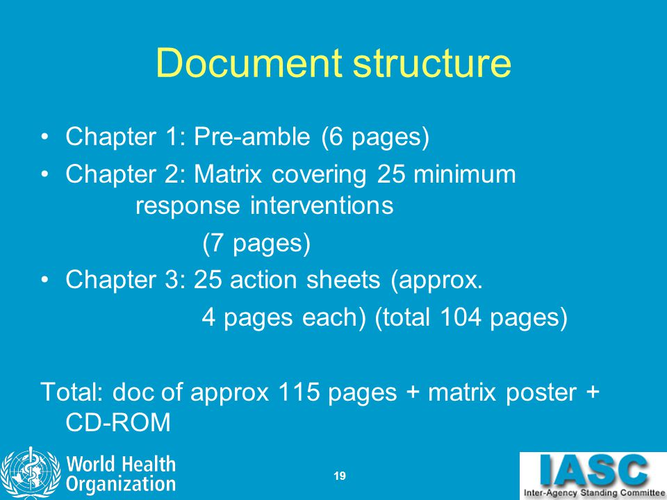 Document structure Chapter 1: Pre-amble (6 pages)