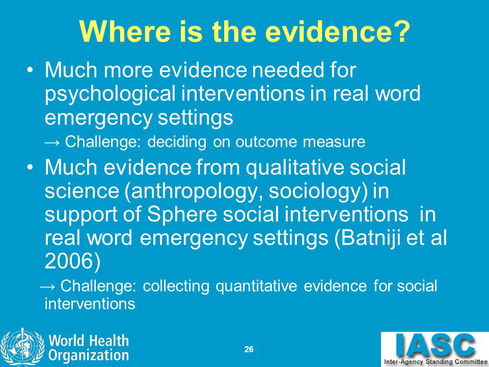 Where is the evidence Much more evidence needed for psychological interventions in real word emergency settings.
