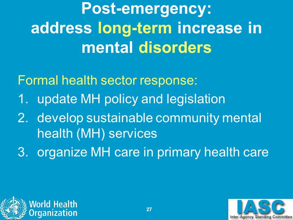 Post-emergency: address long-term increase in mental disorders