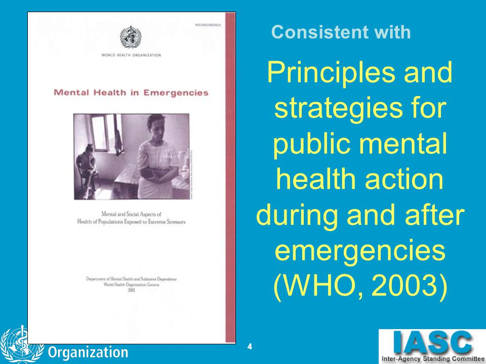 Consistent with Principles and strategies for public mental health action during and after emergencies (WHO, 2003)