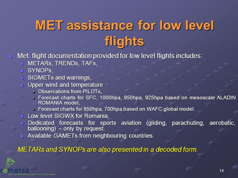 MET assistance for low level flights