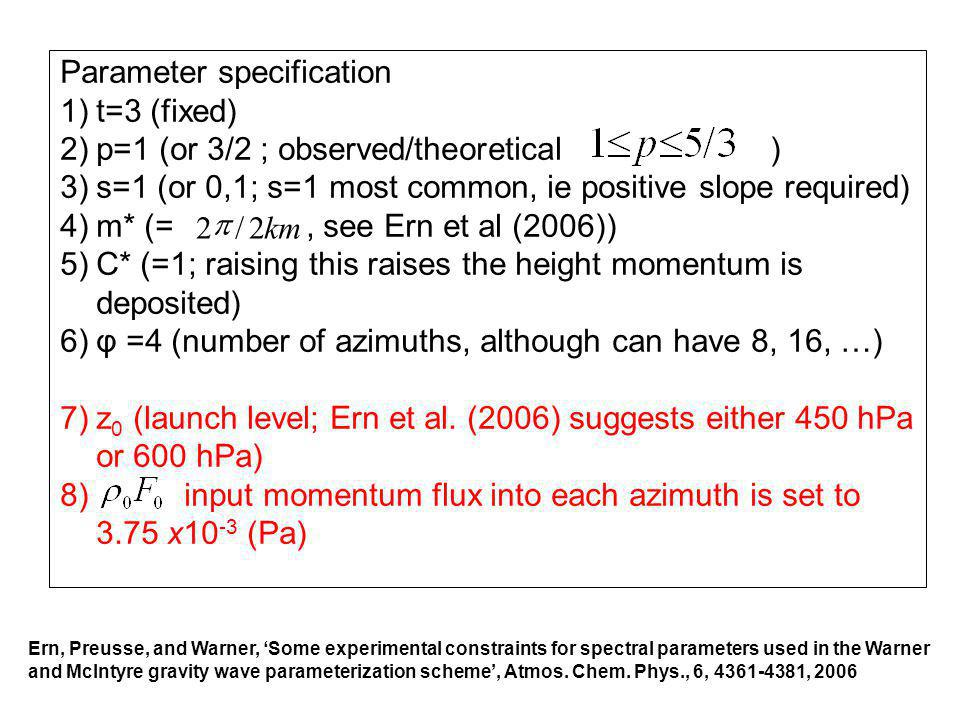 Parameter specification t=3 (fixed)