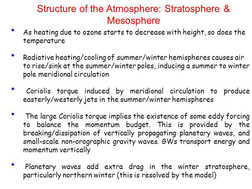 Structure of the Atmosphere: Stratosphere & Mesosphere