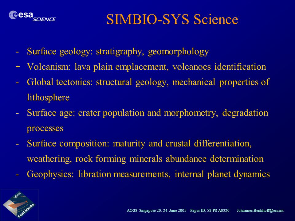 SIMBIO-SYS Science Surface geology: stratigraphy, geomorphology
