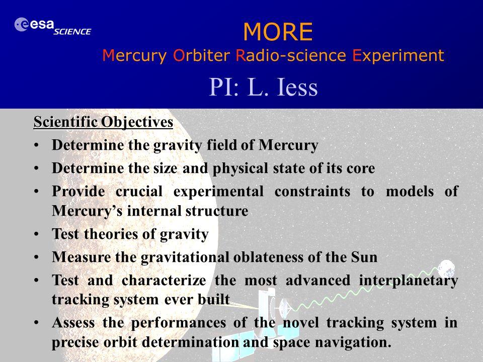 PI: L. Iess MORE Mercury Orbiter Radio-science Experiment