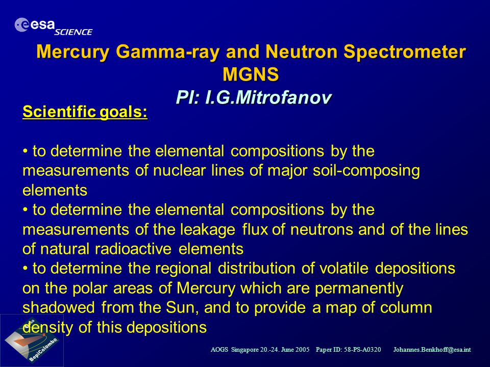 Mercury Gamma-ray and Neutron Spectrometer