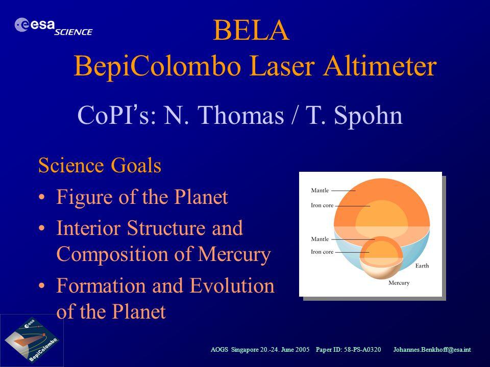 BELA BepiColombo Laser Altimeter
