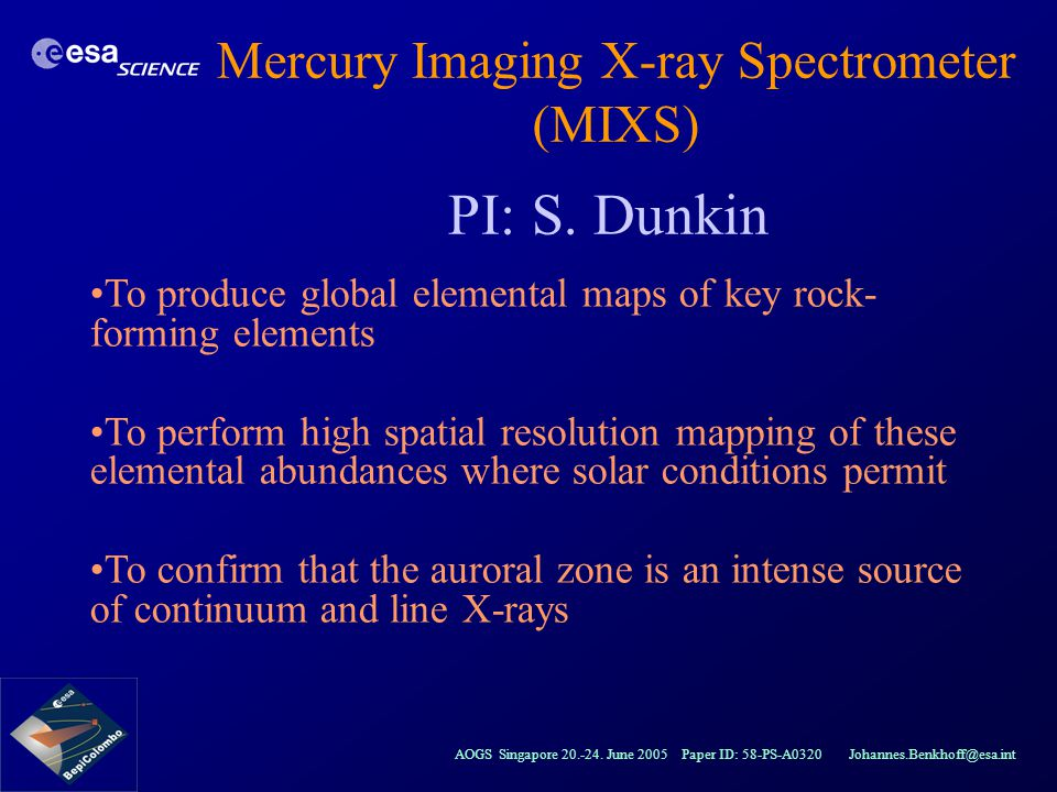Mercury Imaging X-ray Spectrometer (MIXS)