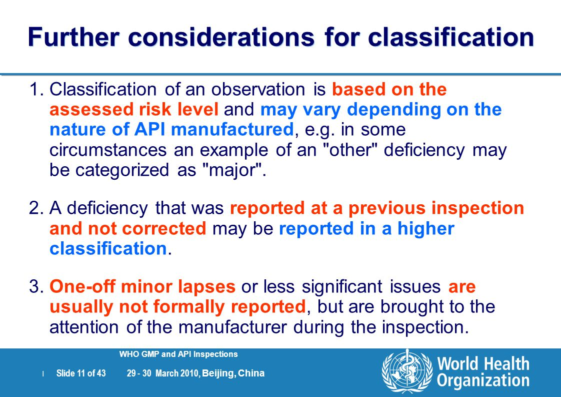 Further considerations for classification