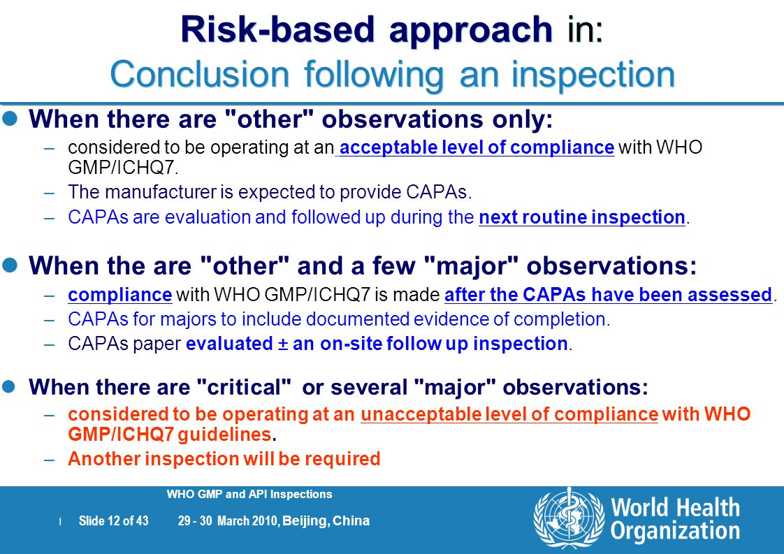 Risk-based approach in: Conclusion following an inspection
