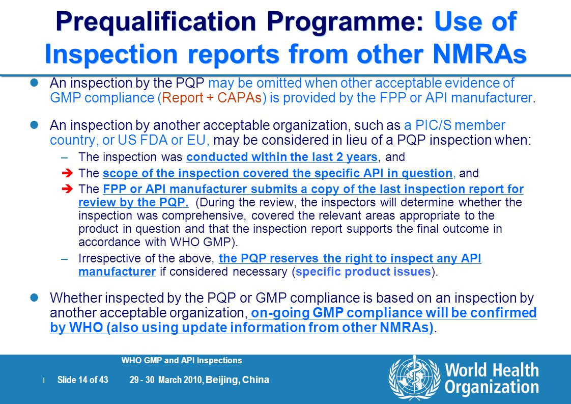 Prequalification Programme: Use of Inspection reports from other NMRAs