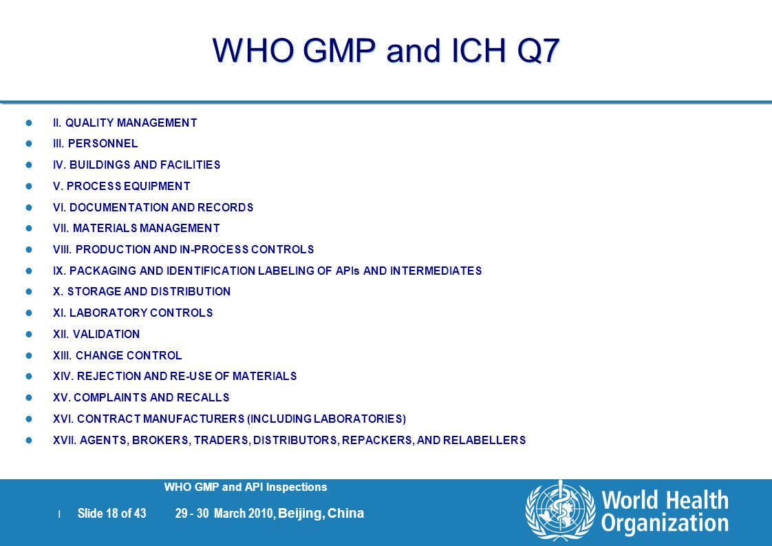 WHO GMP and ICH Q7 II. QUALITY MANAGEMENT III. PERSONNEL