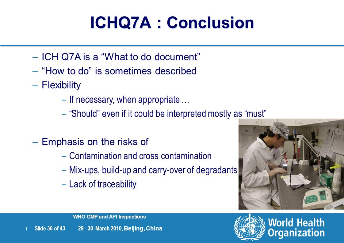 ICHQ7A : Conclusion ICH Q7A is a What to do document